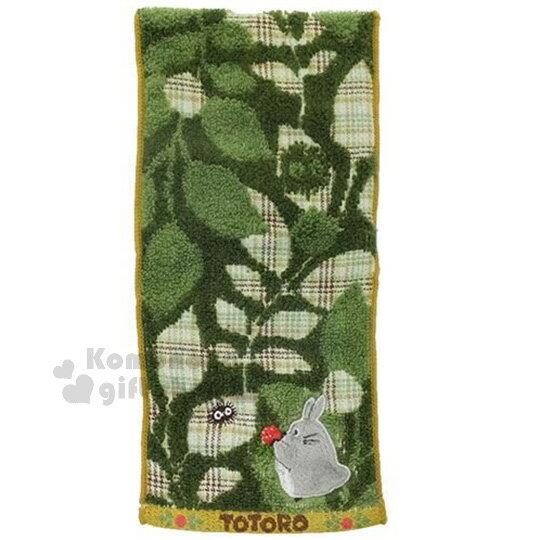 〔小禮堂〕宮崎駿 Totoro 龍貓 毛巾布收納袋《深綠.小黴菌.葉子》