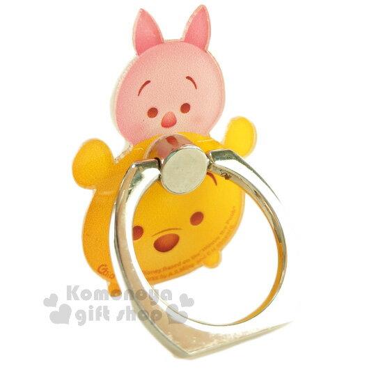 〔小禮堂〕迪士尼 Tsum Tsum 壓克力手機指環架《小熊維尼.堆疊》可360度旋轉