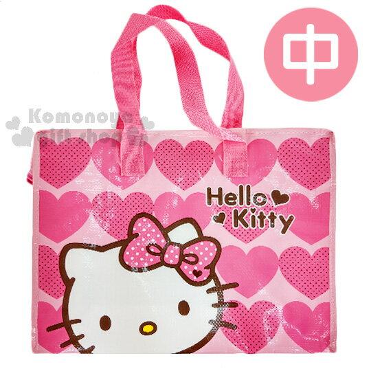 〔小禮堂〕HelloKitty購物袋《M.粉.愛心.蝴蝶結》棉被袋.衣物收納袋