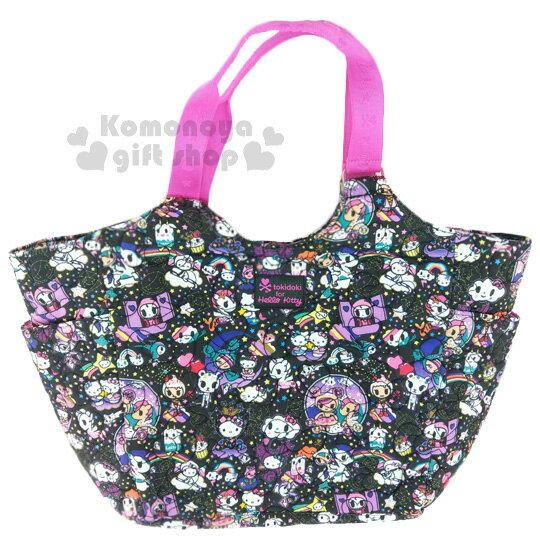 〔小禮堂〕Kitty x tokidoki 大容量棉質側背包《L.黑.甜甜圈.小怪獸》俏皮童趣系列