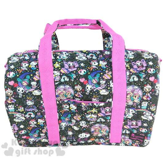 〔小禮堂〕Kitty x tokidoki 大容量棉質旅行袋《XL.黑.甜甜圈.小怪獸》俏皮童趣系列