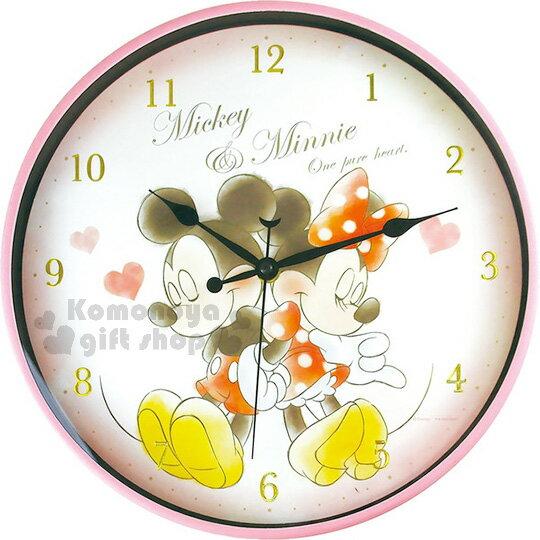 〔小禮堂〕迪士尼 米奇米妮 圓形掛鐘《粉.愛心.背對背》