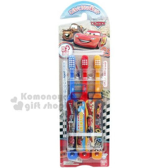 〔小禮堂〕迪士尼 CARS 閃電麥坤 兒童牙刷《泥土底.拖吊.黑白格.藍紅橘牙刷》易握形狀設計