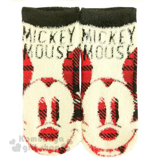 〔小禮堂〕迪士尼 米奇 成人保暖襪~米黃紅.大臉.英文字樣~適穿腳長22~24公分