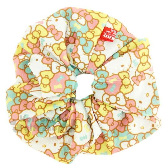 〔小禮堂〕Hello Kitty 髮圈《粉綠.蝴蝶結.大臉.滿版》大腸圈.髮飾
