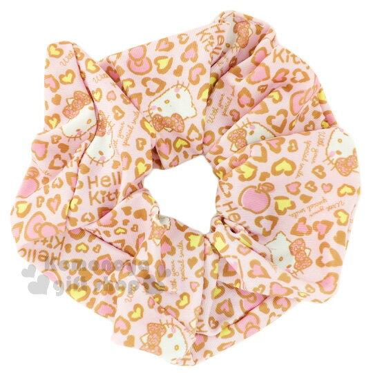 〔小禮堂〕Hello Kitty 髮圈《粉.愛心豹紋.蘋果》大腸圈.髮飾