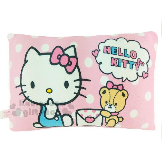 〔小禮堂〕Hello Kitty 方型小抱枕《粉.白點點.坐姿.信封.小熊》靠墊.枕頭
