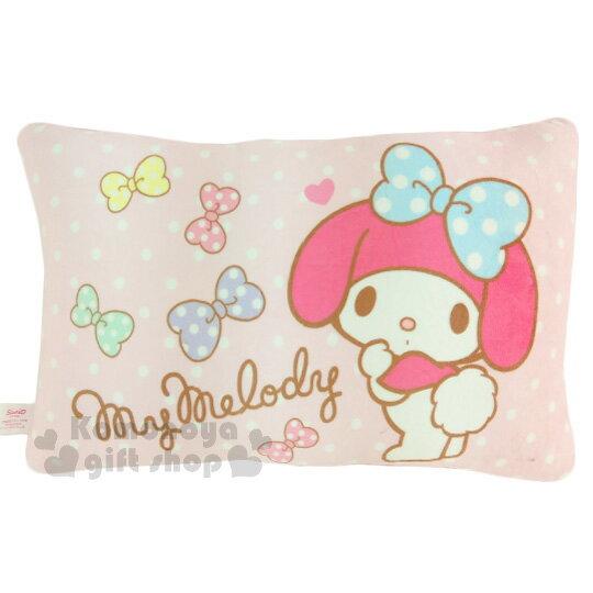〔小禮堂〕美樂蒂方型小抱枕《粉.白點點.蝴蝶結.側站》靠墊.枕頭