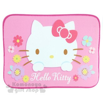 〔小禮堂〕Hello Kitty 腳踏墊《桃邊.桃蝴蝶結.大臉.花朵.45x65cm》止滑.海棉軟墊