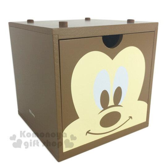 〔小禮堂〕迪士尼 米奇 積木式單抽收納盒《棕.大臉》可多個推疊