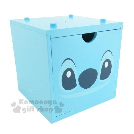 〔小禮堂〕迪士尼 史迪奇 積木式單抽收納盒《藍.大臉》可多個推疊