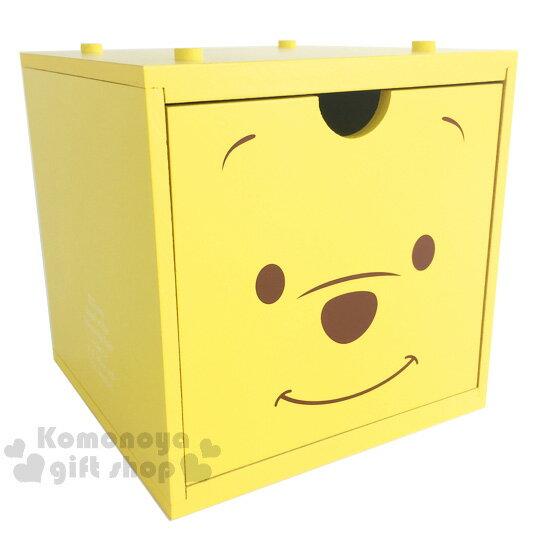 〔小禮堂〕迪士尼 小熊維尼 積木式單抽收納盒《黃.大臉》可多個推疊