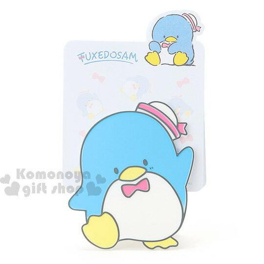 〔小禮堂〕山姆企鵝 便條紙組~藍.企鵝.蝴蝶結.滿版~附 夾座