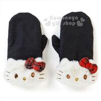保暖配件推薦〔小禮堂〕Hello Kitty 造型麂皮保暖手套《黑.大臉.格子蝴蝶結》