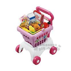 〔小禮堂〕迪士尼 超市購物玩具組《粉白推車.粉購物籃.玉米.小熊維尼大頭麵包》