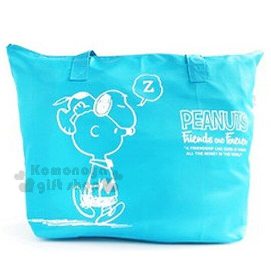 〔小禮堂〕史努比 折疊式防水手提袋《淺藍.睡覺.趴在頭上.查理布朗》可放行李箱拉桿