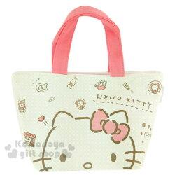 〔小禮堂〕Hello Kitty 棉質便當提袋《米灰.粉把手.大臉.房子.公雞.多圖》