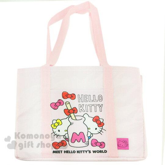 〔小禮堂〕Hello Kitty 保冷側背包《粉.牛奶罐.蝴蝶結.姊妹》