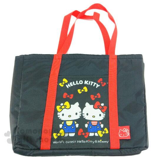 〔小禮堂〕Hello Kitty 保冷側背包《黑.姊妹.紅黃蝴蝶結》