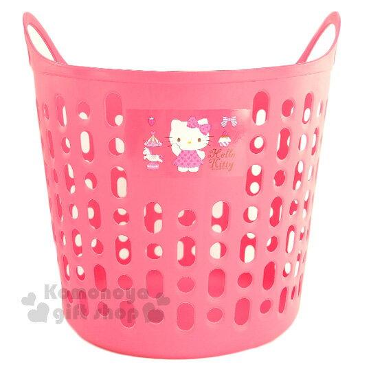 〔小禮堂〕Hello Kitty 軟式通風洗衣籃《圓筒.桃紅.舉單手.木馬》