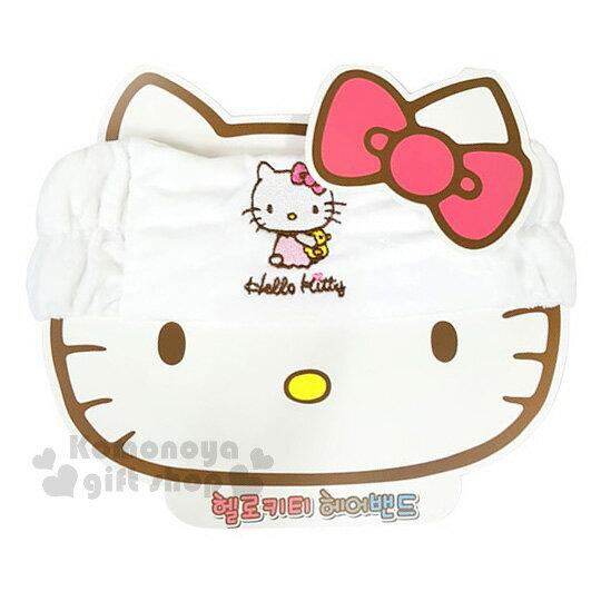 〔小禮堂〕Hello Kitty 彈性束髮帶《白.圍浴巾.刺繡》