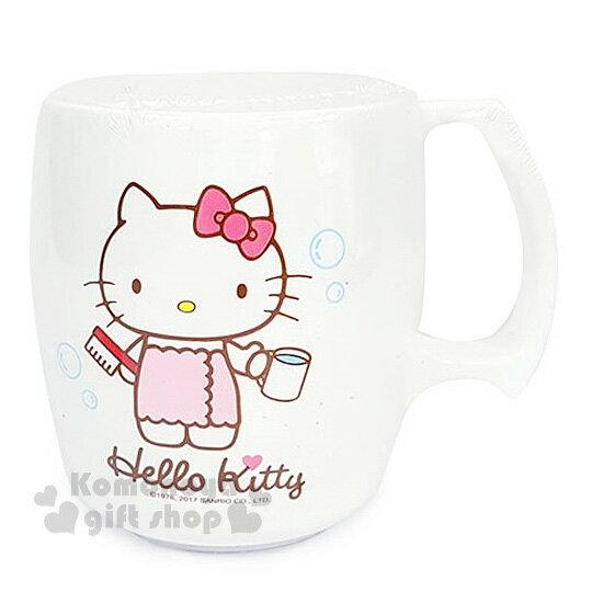 〔小禮堂〕Hello Kitty 漱口杯《白.圍浴巾.拿牙刷.泡泡》