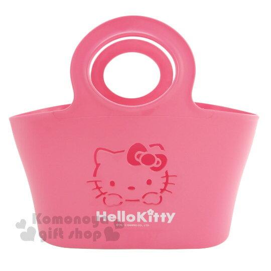 〔小禮堂〕Hello Kitty 軟式通風提籃《桃紅.紅色大臉簍空.英文字樣》底部挖洞設計