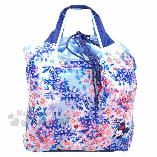 〔小禮堂〕迪士尼 米妮 折疊式環保 袋~L.藍.水彩風.花朵斑斕~