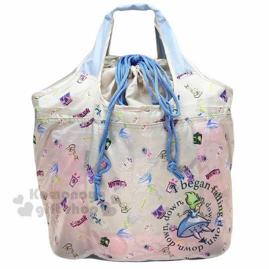 〔小禮堂〕迪士尼 愛麗絲 折疊式環保 袋~L.米灰.掉落.時鐘~