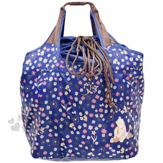 〔小禮堂〕迪士尼 小熊維尼 折疊式環保 袋~L.深藍.手繪風.花朵~