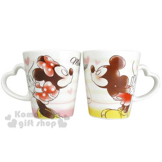 〔小禮堂〕迪士尼 米奇米妮 陶瓷馬克杯組《2入.粉.條紋.紅線.愛心》對杯組
