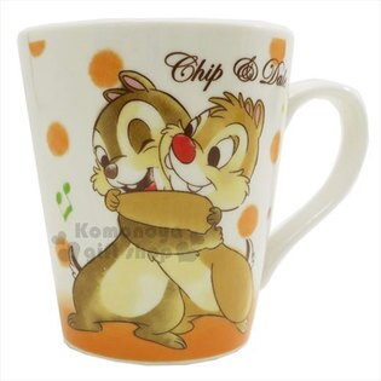 〔小禮堂〕迪士尼奇奇蒂蒂陶瓷馬克杯《橘白.音符.擁抱》精美盒裝