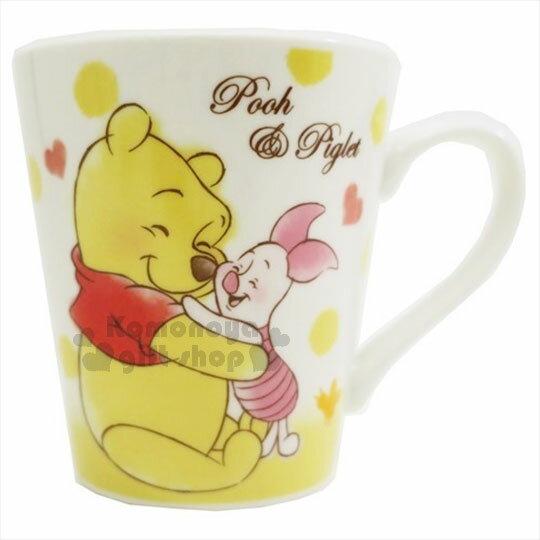 〔小禮堂〕迪士尼 小熊維尼 陶瓷馬克杯《黃白.蜜蜂.愛心》精美盒裝