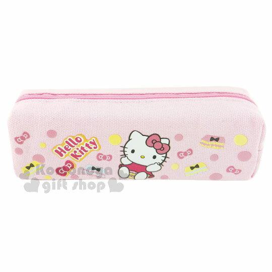 〔小禮堂〕Hello Kitty 帆布拉鍊筆袋《粉.蓬蓬褲.點點.坐姿》
