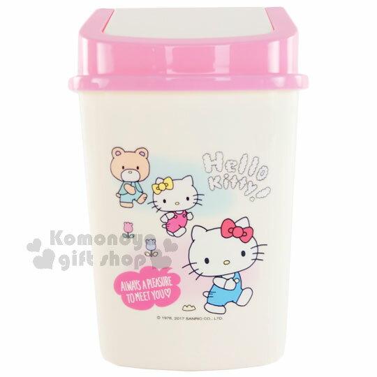 〔小禮堂〕Hello Kitty 平衡蓋垃圾桶《白.粉蓋.小熊.花朵.方型》桌上型