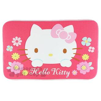 〔小禮堂〕Hello Kitty 腳踏墊《粉邊.粉蝴蝶結.大臉.花朵.45x65cm》止滑.海棉軟墊