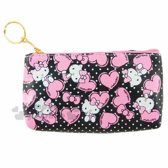 〔小禮堂﹞Hello Kitty 皮質面紙化妝包《黑.點點.愛心.蝴蝶結.坐姿》零錢包.鑰匙包.萬用包