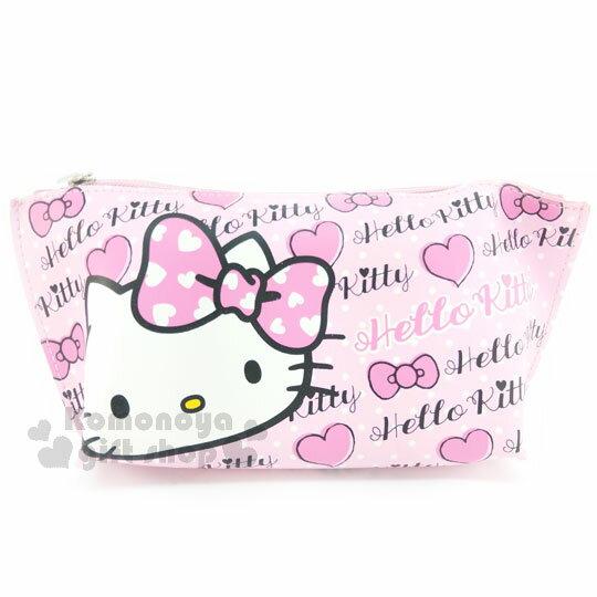 〔小禮堂〕Hello Kitty 皮質船型拉鍊筆袋《粉.大臉.愛心.英文字樣》