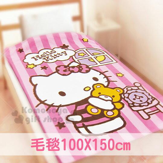 〔小禮堂〕Hello Kitty 刷毛毯《粉條紋.抱小熊.椅子.窗戶.100x150cm》