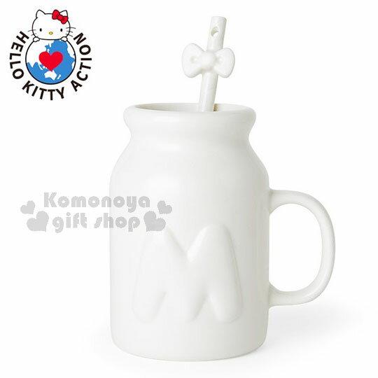 〔小禮堂〕Hello Kitty 馬克杯湯匙組《白.牛奶罐造型.大M.蝴蝶結》銀色聖誕 0
