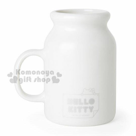 〔小禮堂〕Hello Kitty 馬克杯湯匙組《白.牛奶罐造型.大M.蝴蝶結》銀色聖誕 2