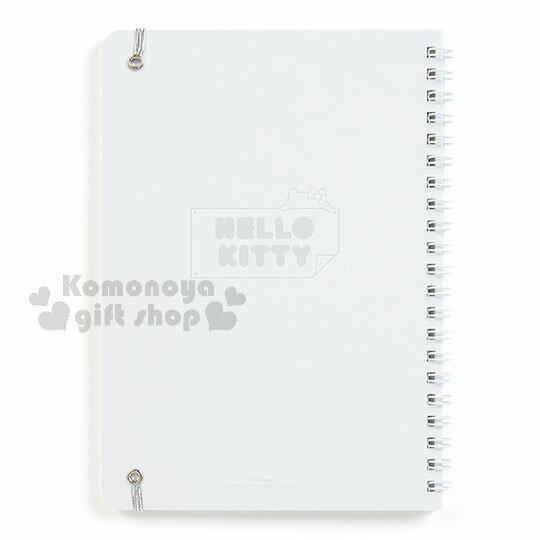 〔小禮堂〕Hello Kitty 線圈筆記本《約A5大小.全白.銀綁帶.多圖》銀色聖誕系列 1