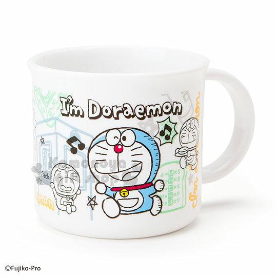 〔小禮堂〕哆啦A夢 日製塑膠小水杯《白.跑步.唱歌.記憶吐司.200ml》