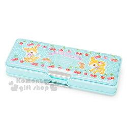 〔小禮堂〕哈妮鹿 日製多功能筆盒《綠.微亮.白點點.櫻桃.兔子》雙開式