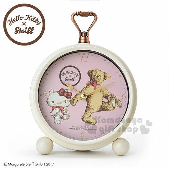〔小禮堂〕Hello Kitty x Steiff  日製兩用掛鐘《粉盒.滿版.圓形.熊》時鐘.鬧鐘