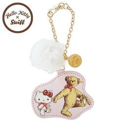〔小禮堂〕Hello Kitty x Steiff 皮質造型吊飾《粉.泰迪熊.泰迪kitty.側走姿.毛球》