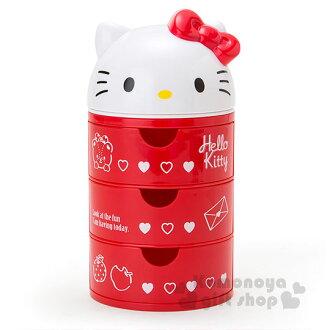 〔小禮堂〕Hello Kitty 桌上型三抽收納盒《紅白.立體大臉.置物櫃》