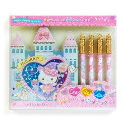〔小禮堂〕Hello Kitty 繪畫著色組《城堡繪本.黃冠著色筆4入》文具禮盒系列