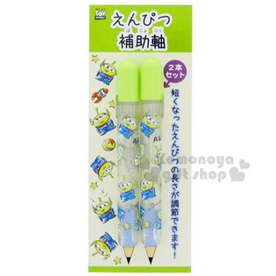〔小禮堂〕迪士尼三眼怪日製鉛筆輔助軸《2入.綠.滿版.站姿》鉛筆過短也不擔心