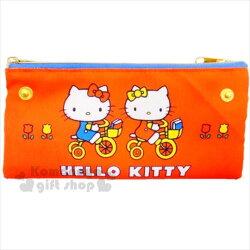 〔小禮堂〕Hello Kitty 雙拉鍊扁平筆袋《紅.雙面.扣子.騎腳踏車》化妝包